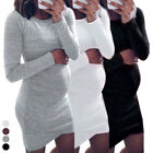 Women Long Sleeve Knit Maternity Dresses Pregnant Mother Stretch Bodycon Dr rft