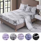 4 Piece Marble 1800 Count Bed Sheet Set Deep Pocket Comforter Cover Soft Bedding image