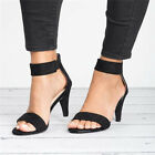 Womens Sandals Wedge Mid Block Heels Summer Casual Party Ankle Strap Shoes Size