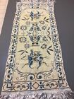 Vintage Tapestry For Wall Hanging/Table Runner 32 x 14 Muted Blue and Peach F14