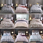 3 Pcs Floral Double Washed Microfiber Duvet Cover Set w/ Pillow Shams Breathable image