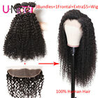 7A Cambodian Curly Human Hair 3 Bundles With Frontal Customized Wig 300% Density