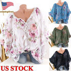 Kyпить Womens Summer Bohemian Short Sleeve Floral Shirt Blouse Tops Loose T Shirt Tee на еВаy.соm