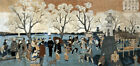 Cherry Blossoms Sumida River Japanese  (Art Prints, Signs, Canvas, Tote, More)