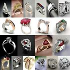 925 Silver Ruby White Topaz Chic Women Ring Wedding Gift Jewelry Party Size 6-10