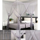 Gray Four Corner Post Mosquito Net Curtain Bed Canopy Outdoor Indoor image