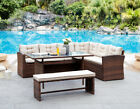 4 Piece Garden Corner Group Sofa Dining Set Grey Or Brown Patio Set With Cover