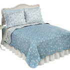 Reversible Floral Quilt with Scalloped Edges and Two-Tone Design image