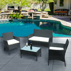 4 Piece Rattan Patio Garden Furniture Set Outdoor Table Chairs Sofa Conservatory
