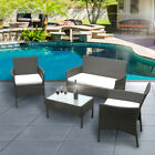 Waterproof Removable Cushion 4 Piece Rattan Garden Furniture Set Kit Outdoor
