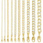 Kyпить 10K Yellow Gold 2mm-10.5mm Diamond Cut Pave Cuban Chain Necklace Bracelet 7