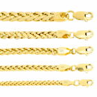 """10K Yellow Gold 2.5mm-5mm Round Wheat Palm Franco Foxtail Chain Necklace 16 -30"""" image"""