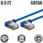 1-50FT Cat6A RJ45 Network LAN Ethernet 90 Degree S/STP Cable Slim 10Gb 36AWG LOT