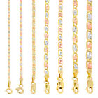 """10K Yellow Rose White Gold 1.5mm-6mm Valentino Chain Necklace Bracelet 7""""- 30"""" image"""