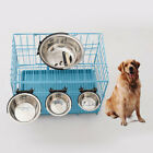 LN_ STAINLESS STEEL DOG PET BOWl CAGE CRATE NON SLIP HANGING FOOD DISH WATER F