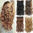 "24"" Clip In Hair Extensions De Cabello Synthetic Full Curly Hair Head Thick Wavy"
