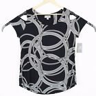 JM Collection Womens Black White Cold Shoulder Short Sleeve Top Tee NWT