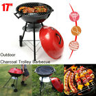 72cm Portable Metal Kettle Trolley BBQ Grill Charcoal Wood Barbeque Picnic Red