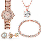 LADIES COMPLETE WATCH GIFT SET NECKLACE EARRINGS RING CHRISTMAS JEWELLERY GIFT image