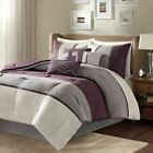 Luxury 7pc Purple & Grey Microsuede Comforter Set AND Decorative Pillows image