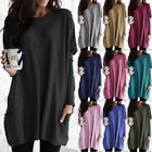 Plus Size Womens Baggy Long Sweater Pullover Ladies Oversized Pocket Jumper Tops