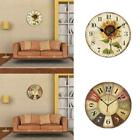 Retro Wooden Wall Clock Farmhouse Decor Silent Non Clocks Ticking O6O9