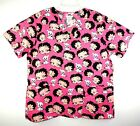 Betty Boop Scrub Top Size Large Pudgy Dog Pink Medical Dental Vet Cartoon Wink $13.58 CAD on eBay