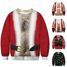 Christmas Men Women 3D Ugly Novelty Sweatshirt Xmas Couple Sweater Pullover Coat