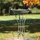 Deep Well Made Metal Birdbath with 2 Cast Iron Birds and Leaf Decoration