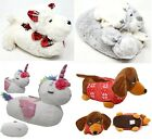 LADIES WOMENS NOVELTY 3D CHARACTER FLUFFY FUR PLUSH SAUSAGE DOG ANIMAL SLIPPERS