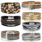 Multilayer Leather Magnetic Clasp Wristband Bracelets Cuff Bangle Women Jewelry