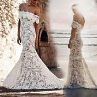 Women Lace Crochet Off Shoulder Strapless Party Wedding Evening Gown Maxi Dress