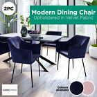 2pc Upholstered Velvet Fabric Dining Chair Armchair Seat Contemporary Furniture