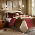 7pc Brown & Deep Red Microsuede Colorblock Comforter Set AND Decorative Pillows image