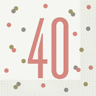 40th Rose Gold Shiny Birthday Party Balloons Tableware Decorations Supplies