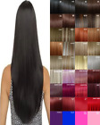 Clip in Hair Extensions Human Feel Black Copper Honey Blonde Brown Blue Pink Ash