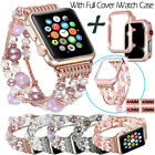For Apple Watch Series 5 4 40/44mm Women Girls Agate Beads Strap With Case Cover image