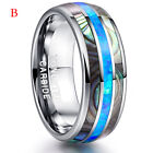 8MM Inlaid Shells Blue Opal Tungsten Steel Rings Men's Wedding Band Jewelry Gift image