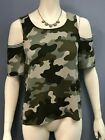 Womens Green Cold Shoulder Camouflage Short Sleeve Top