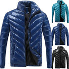 Men Padded Bubble Fur Hooded Coat Winter Warm Hoodie Puffer Quilted Parka Jacket