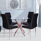 3/5Piece Dining Table and Chair Set Tempered Glass Table 2/4Pcs High Back Chairs