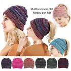 Women's Ponytail Beanie Ribbed Winter Messy Bun Cable Warm Soft Knitted Hat