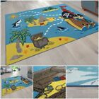 Treasure Hunt Children's Play Rug Pirates Motif Colourful Mat Boys Room Carpet