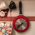 8 Inch Unique Frying Pan Clock Stainless Steel Wall Hanging Watch Kitchen Decor
