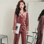 Women's Autumn And Winter Long Sleeve Pajama Suit Gold Velvet Home Clothes Warm