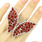 Long Big Heavy 14.5g Butterfly Shape Red Blood Ruby CZ Present Silver Ring 8.0 #