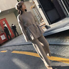 Womens Knitted Tops Sweater Cashmere Blend Thick Loose Wide Leg Pants 2Pcs Suit
