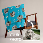 Dog Cat Pet Photo Face Custom Printed Throw Blanket - Personalized Gift image