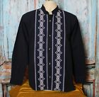 Latin American Men's Guayabera Shirt Midnight Blue & Long Sleeves Oaxaca Mexico