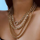 Multi Layer Link Chain Choker Chunky Statement Necklace Collar Charm Jewelrynwus